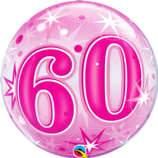 60th Pink Stars Bubble Balloon